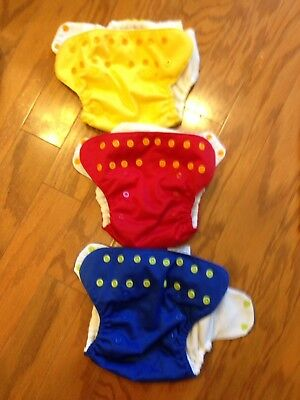 9 Blueberry One Size Cloth Diapers AlO, Newborn Sz Small, Wet Bag, Inserts