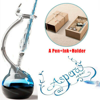Crystal Glass Pen Dip With Holder Signature Business Office Decor Glass Pen Gift