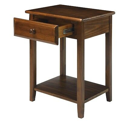 Casual Wooden Night Stand Home With USB Ports For Charging Laptops And Cellphone