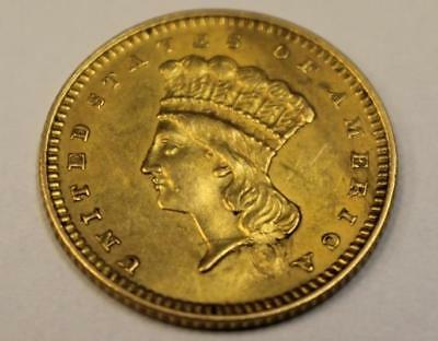 1862 One Dollar Gold Piece, $1 Indian Princess, Civil War Era Hole Repaired
