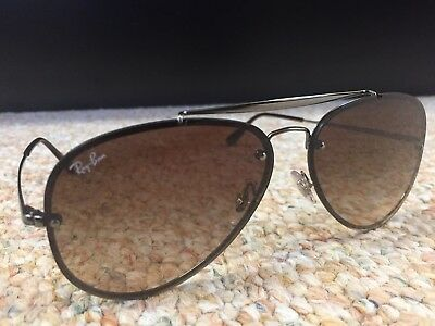 "690ce28ab Ray-Ban ""Blaze"" Aviator Sunglasses / Gunmetal Frames With Brown Gradient  Lenses"