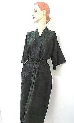 "Black Rayon Robe Kimono bath robe 50"" long Brand New handmade floral Size L"
