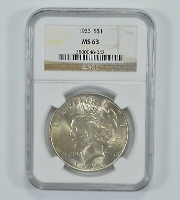GRADED - 1923 Peace Silver Dollar - MS-63 - NGC Graded *994