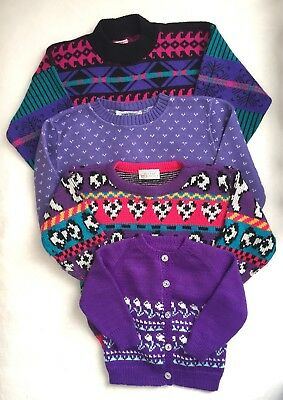 Vtg Retro Girls Cute Kawaii 80's & 90's Spring Sweaters Flower Puppy Mixed Sizes