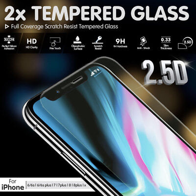 2x Real Tempered Glass Screen Protector for Apple iPhone X 8 7 6 6S Plus Cover