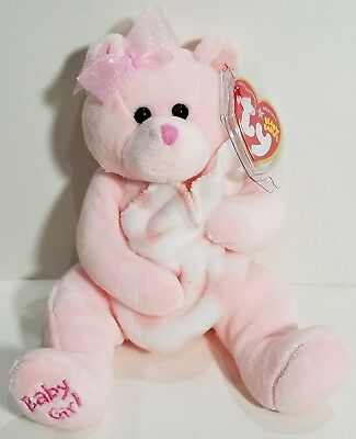 """TY Beanie Babies """"BABY GIRL"""" Pink with Blanket Teddy Bear ~ MWMTs! PERFECT GIFT!"""