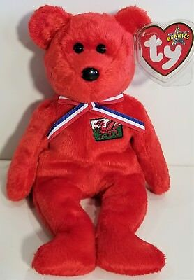 """TY Beanie Babies """"WALES"""" the Red UK Wales Exclusive TEDDY BEAR ~ MWMTs! GIFT!"""