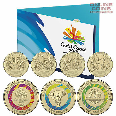 2018 RAM XXI Commonwealth Games Seven 7 Coin Collection Set Coloured $2.00 Coins