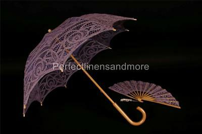 Lilac Parasol with curved handle and matching hand Fan