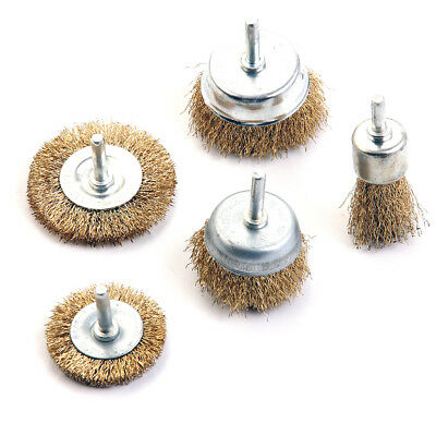 "KSEIBI Brass Crimped Wire Brush Set 5 Piece Shaft Mounted 1/4"" for Rotary Drill"