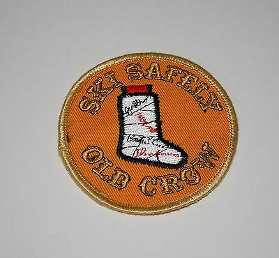Vintage Rare Old Crow Whiskey Bourbon Patch New NOS 1960s Skiing Funny Slogan