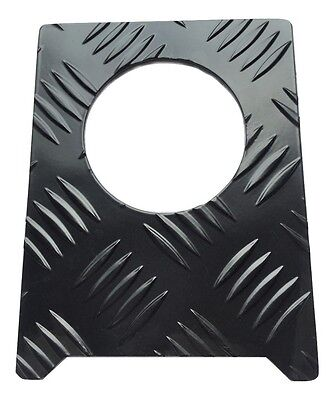 Fuel Cap Surround (Large) - 2mm Chequer Plate - Powdercoated Black - Defender