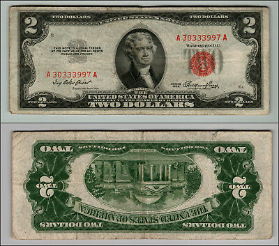 1953 $2 Dollar  Us Note Legal Tender Paper Money Currency Red Seal W777