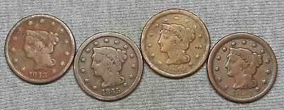 Lot Of 4 Lower Grade US Large Cents - 1827, 1838, 1848 & 1854