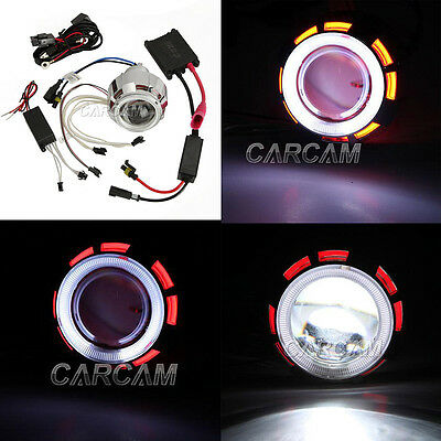 Projector Headlight White Angel Devil eyes For Kawasaki ZX 6R 10R 250R Ninja EX
