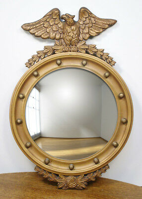 Vintage Federal Eagle Wall Hanging Mirror. Goldtone Round Convex 13 Balls