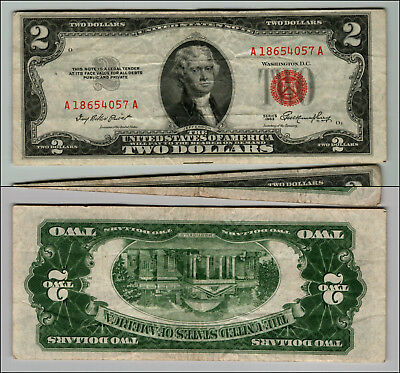 1953 $2 Dollar Bill Old Us Note Legal Tender Paper Money Currency Red Seal P666