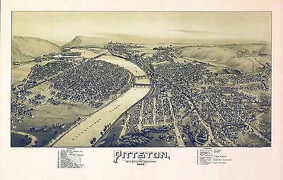 pa155 Antique old map PENNSYLVANIA genealogy family history PITTSTON WEST 1892
