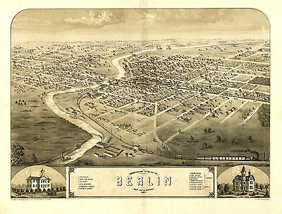wi9 Antique old panoramic map WISCONSIN genealogy family history BERLIN 1867