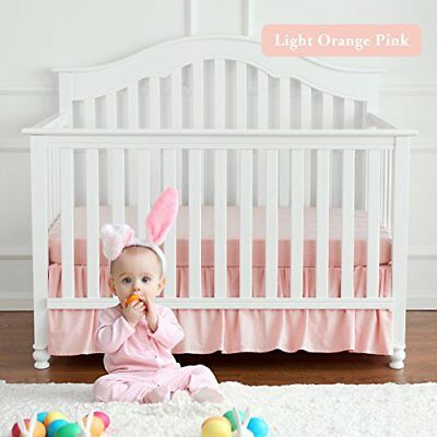 TILLYOU Crib Skirt Baby Bed Dust Ruffle 100% Natural Cotton Nursery Bedding for