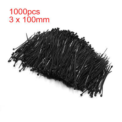 1000pcs 3 x 100mm Black Plastic Nylon Fastener Cable Tie Strap Ribbon for Car