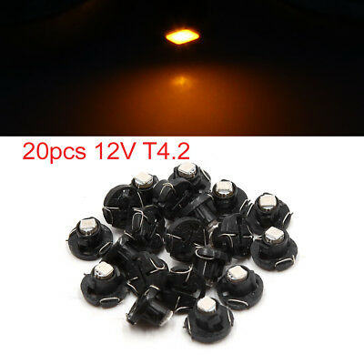 20pcs 12V T4.2 Yellow LED 1210 SMD Car Dashboard Light Gauge Panel Lamp Interior