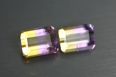 3.845 Cts Amazing Finest Unbelievable Quality Hi-End Natural Ametrine Aaa 2-Pcs!