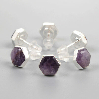 3Pair 925 Sterling Silver Cambered Hexagon Studs, 8mm Natural Amethyst BSS085