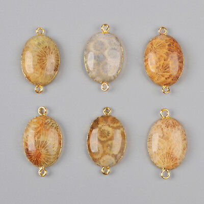 Clearance RANDOM 1 Pcs Oval Natural Coral Fossil Connector Gold Plated BG0997