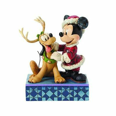 Figure Disney Traditions Santa Claus Mickey Mouse Topolino Pluto Statue Resina 1