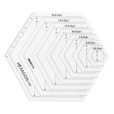 Hexagon Quilting Ruler Patchwork Plastic Template DIY Sewing Tools Useful