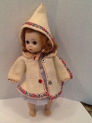 "Vtg.Madame Alexander Kin 8"" Bent Knee Walker Doll 1950's No Box Sweet Face!"