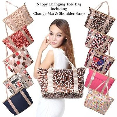 Nappy Changing Diaper Bag Set with Changing Mat Babyhugs Stylish Design Tote