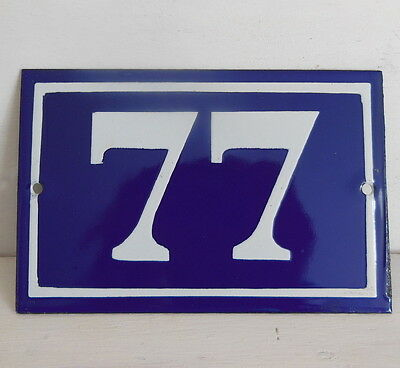 OLD FRENCH HOUSE NUMBER SIGN door gate PLATE PLAQUE Enamel steel metal 77 Blue