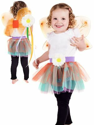 Girls Multi Coloured Fairy Outfit w//Headband,Wand /&Wings Dress Up Role Play BNWT