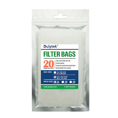 "Dulytek Rosin Press Nylon Filter Bags, 25 Micron, 2.5"" x 4.5"", 20 PCS, Screen"
