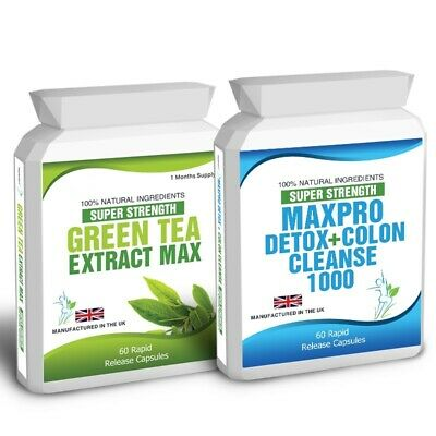 60 Green Tea Extract Plus 60 Max Pro Detox Colon Cleanse Weight Loss Dieting