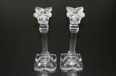 Pair of Glass Crystal Candle Stick Holders Taper - Waterford Style Like New