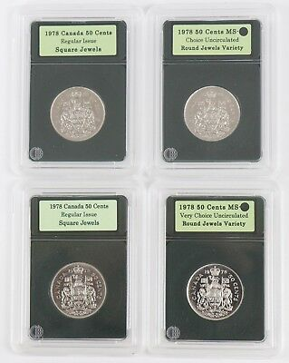 1978 Canada 50-Cent Lot of 4 Coins (2)Regular (2)Square Jewels Issue BU UNC