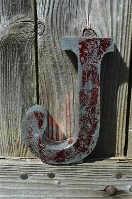 Medium Vintage Style 3D Red J Shop Sign Letter Tin Wall Art Letter Font