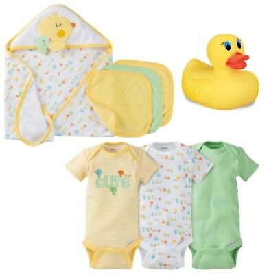 Gerber Baby Unisex 8-Pc Onesies, Bath Ducky & Terry Hooded Bath Set Bundle 0-3M
