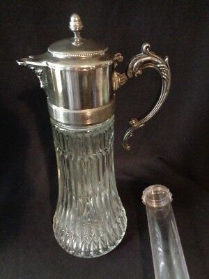 Vintage Crystal Glass & Silver-plate Carafe Pitcher Chiller with ice insert