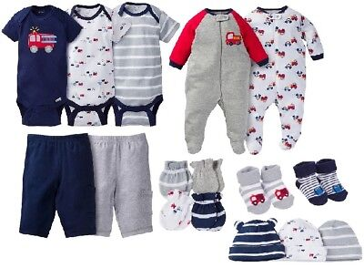 Gerber Baby Boy 16-Piece Navy/Gray Firetrucks Bundle Clothes Set Size 0-3M(NB)
