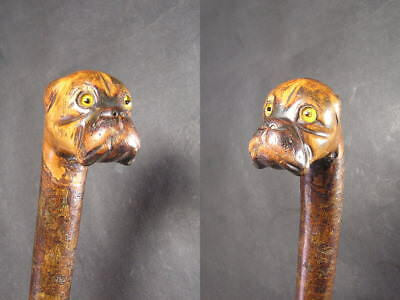 Antique Boxer Dog Head Black Forest Walking Stick or Cane