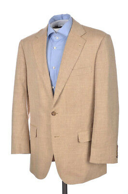 BROOKS BROTHERS Madison Beige Herringbone SILK LINEN Blazer Sport Coat - 41 R