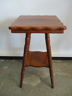 Antique Solid Wood Tiger Oak Accent Table Lamp Table Tiger Strip Table 16X16X29