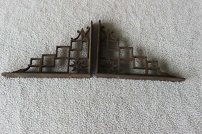 Old Vtg Antique Cast Iron Metal Decorative Shelf Bracket Pair Set Of 2