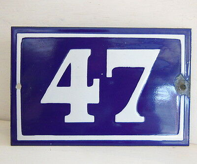 OLD FRENCH HOUSE NUMBER SIGN door gate PLATE PLAQUE Enamel steel metal 47 Blue
