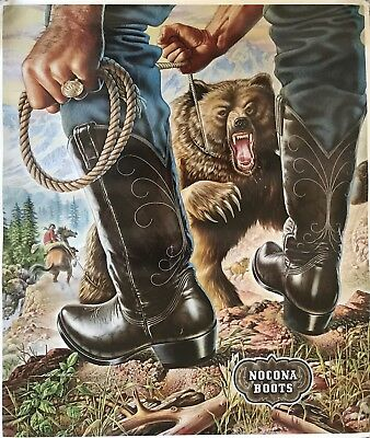 "RARE 1981 Nocona Boots Rodeo Poster Grizzly Bear Alex Ebel 19.5"" x 22.75"""