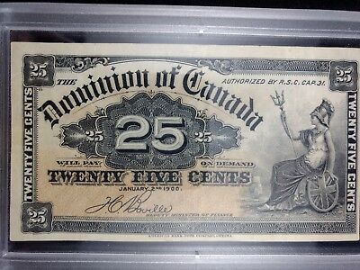 RARE AU-BU 1900 Vintage Foreign Banknote Canada 25 Cent NOTE No Reserve #431
